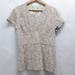 Banana Republic cream lace empire waist v-neck top